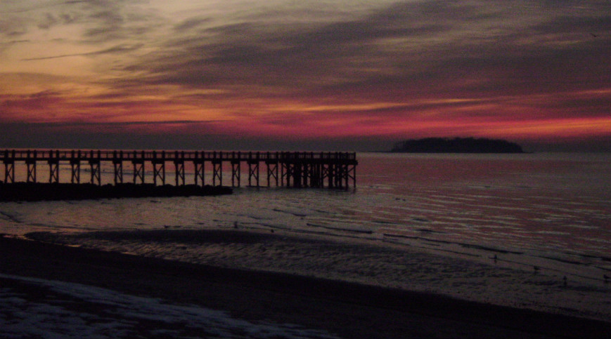 sunrise at the pier in Milford, CT.